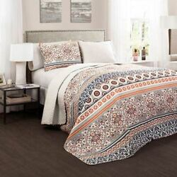 Lush Decor Nesco Navy and Coral Three-Piece FullQueen Quilt Set - C32114P15-000
