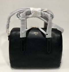 NWT FOSSIL SYDNEY Black Satchel Convertible Crossbody Domed Purse wBag