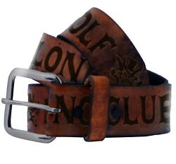 Lucky 13 The No Club Lone Wolf Biker Genuine Leather Mens Brown Belt Labl25no