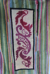 Antique Or Vintage #ByHand Art Deco Wool Textile Rug Wall Paisley Stripe 25x35