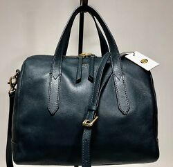 NWT FOSSIL SYDNEY Heritage Blue Satchel Convertible Crossbody Domed Purse wBag