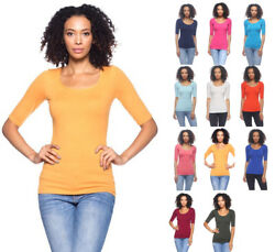 Women#x27;s Basic Seamless Stretch Scoop Neck 3 4 Sleeve Fitted Top T Shirt Solids $12.99