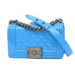 CHANEL Boy Chanel ChainShoulder Bag patent blue Free Shipping