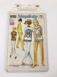 Vintage Simplicity 8000 Overblouse Stove Pipe Pants Sewing Pattern Ff Sz 12