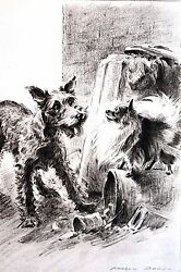 Morgan Dennis 1946 MIXED BREED TERRIER and PEKINGESE Vintage Matted Dog Print