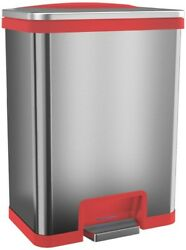 Trash Can 13 Gal. Step Pedal Sensor Stainless Steel Handle Odor Seal (Red Trim)