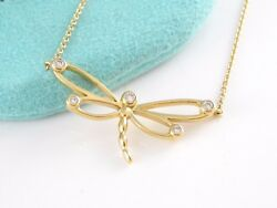 And Co 18k Yellow Gold Dragonfly Diamond Necklace