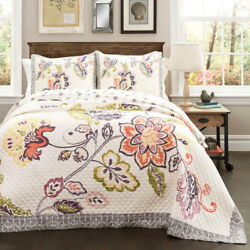 Lush Decor Aster Coral and Navy Three-Piece FullQueen Quilt Set - C39830P15-000