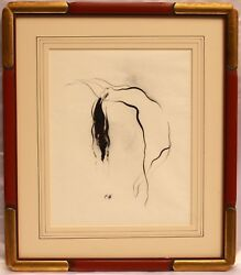 Magnificent French Nude Ink Drawing By Paul Gerard Listed Artist