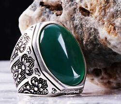 Emerald Stone Turkish Jewelry Handmade 925 Sterling Silver Men Ring All Sİze 151