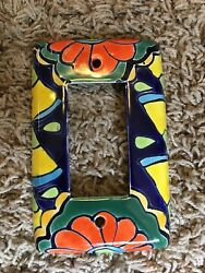 Talavera Ceramic Mexican Colorful Light Plate Cover Paddle Switch Blue Orange
