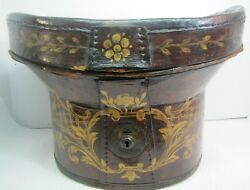 Antique 19c Folk Art Hand Painted Leather Hat Box Flowers Leaves Scrolls 1800s