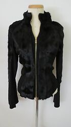 Black Color Acrylic Faux Fur Bell Sleeve Bomber Jacket Size M