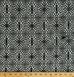 Patterned Lace Black Allover Lace Look Soft 60quot; Wide Fabric by the Yard D170.50 $6.97