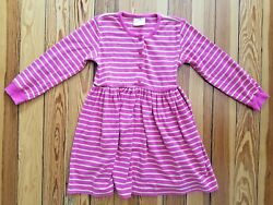 EUC Hanna Andersson Long Sleeve Play Dress Lime & Pink Stripe Size Girls 120 6-7