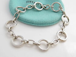 And Co New Rare Silver Circle Circles Clasp Clasping Charm Bracelet Bangle