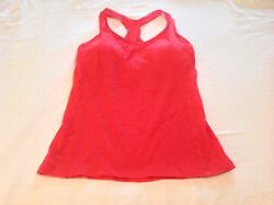 Lululemon Sz 10 Deep Breath Tank Top Lush Coral Y Back Pads VGUC