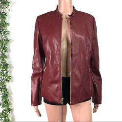 Cole Haan Women's Ruby Red Ruffle High Neck Faux Leather Jacket New Size Small