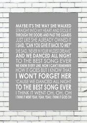Best Song Ever - One Direction Typography Words Song Lyric Lyrics