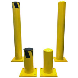 Steel Pipe Safety Round Bollard Posts - Bolt Down - Yellow - Electriduct