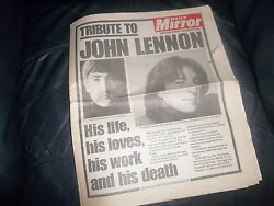 The Beatles - Genuine 1980 Daily Mirror Newspaper Tribute John Lennon Awesome