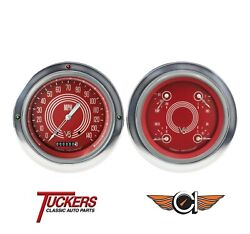 1954-1955 Chevy 3100 Truck V8 Red Steelie Gauges Classic Instruments Ct54v8rs52
