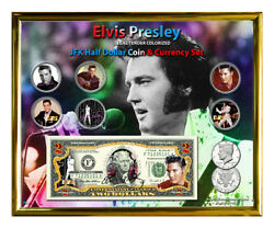 Elvis Presley Colorized Coin And Currency Set In 8 X 10 Frame - H