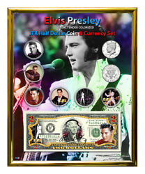 Elvis Presley Colorized Coin And Currency Set In 8 X 10 Frame - V
