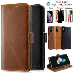 For Apple iPhone XS MAX XR Luxury Leather Wallet Stand Thin Slim Case Cover