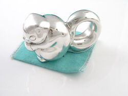 And Co Rare Vintage Silver Squirrel Eating A Nut Baby Rattle