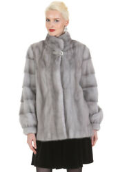 Real Mink Fur Jacket for Women Small - Crystal Clasp Sapphire Mink