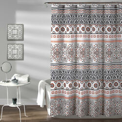 Lush Decor Nesco Stripe Navy and Coral 72 In. Shower Curtain - 16T002704