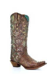 Corral Womenand039s Cognac Purple Glitter Inlay Western Boots C3467