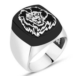 Turkish 925 Sterling Silver Private Lion Black Onyx Stone Mens Ring All Sİze Us
