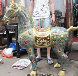 38 Royal Palace Bronze Copper Cloisonne Lucky Wealth war-horse Tang Horse Statue