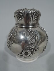 Tea Caddy - 4824 - Antique Neoclassical Box - American Sterling Silver