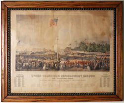 Civil War Print Showing Union Troops Arriving In Philadelphia From New Jersey