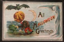 1912 Oneida Ny Usa Picture Postcard Ppc Cover All Halloween Greetings