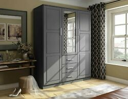 Cosmo 3 Door Wardrobe Armoire Closet with Mirror and 3 Drawers by Palace Imports