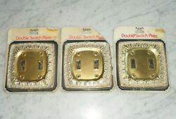 3 Vintage Kirsch Chateau BF142 Brass White Wash Double Light Switch Plate Covers