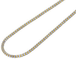 10k Yellow White Gold Two Tone Diamond Cut Ice Chain Necklace 4mm 20-30 Inches