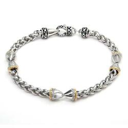 Andrea Candela 18k Yellow Gold And Diamonds Wheat Cable Design Bracelet Acb399/12