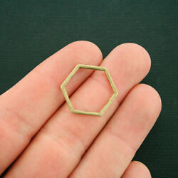 8 Linking Ring Charms Antique Bronze Tone Hexagon 2 Sided Connector - Bc1684