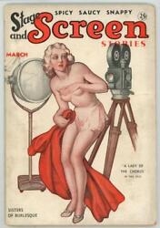 Stage And Screen Stories Mar 1936 Rare Girlie Pulp Title Gga Cover Art