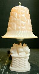 Vintage Pink Glass Scottish Terriers In Basket w Shade Boudoir Lamp Very Good