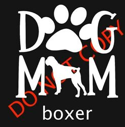 DOG MOM With Boxer Car Window Decal Cute Dog Lovers Paw Print