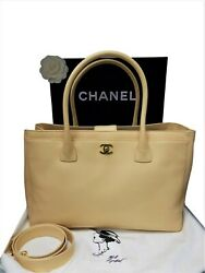 Authentic CHANEL Executive Cerf bag  Shoulder Strap Tote Gold Hardware