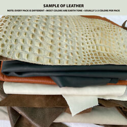 Leather scraps 3 lbs. Genuine leather pieces assortment of sizes and colors $23.95