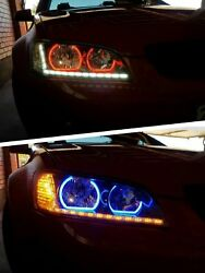 Holden Ve Commodore Series 2 Sv6 Headlights W/ Rgb Halo Rings And Drl Clear Style