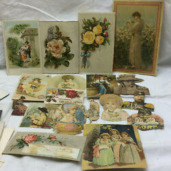 Vtg Victorian Figural Trade Card Scrap Booking Lot C1890's Cut Outs Advertising